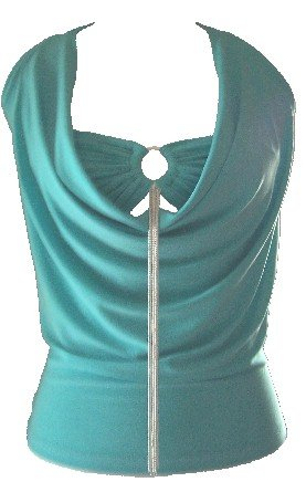 Draped Turquoise Ring Accessory Halter Top Blouse XLarge