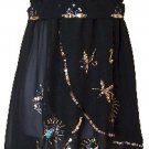 Black Sequins & Beads Layered Chiffon Smocked Tube Top Blouse Medium