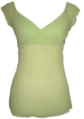 Lime Sheer Chiffon Tie Back Top Blouse Large