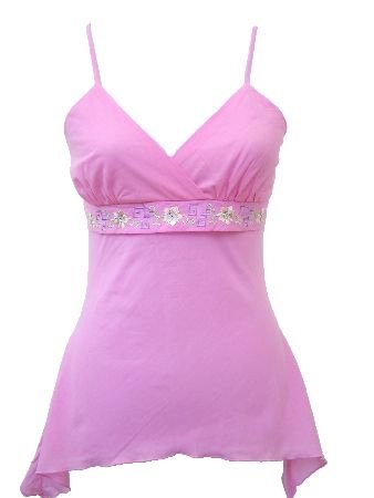 Casual Pink Embroidered Tie Back Top Medium