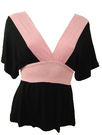 Black Pink Color Block Deep V-Neck Top Blouse Medium