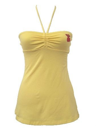 Yellow Casual Cherrry Halter Top Large
