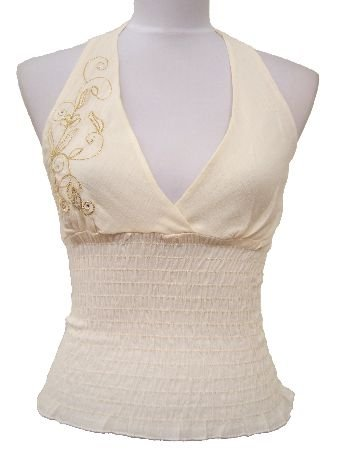 Ivory Miriam Gauze Embroidered Halter Top Blouse Small