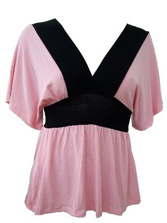 Pink Black Color Block Deep V-Neck Top Blouse Small