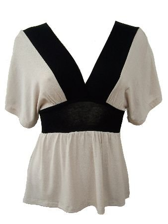 Beige Black Color Block Deep V-Neck Top Blouse Medium