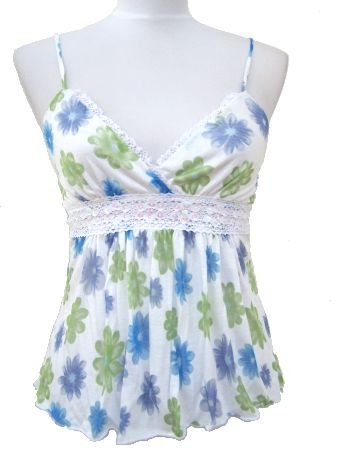 White Blue Rachel Floral Print Summer Top Medium