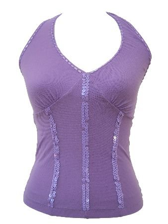 Gia Lavender Two Layered Sequin Beaded Halter Top Blouse Medium