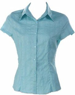 Blue Short Sleeve Front Button Shirt Large, Women's Juniors