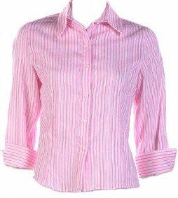 Pink Classic Stripe 3/4 Sleeve Shirt Large