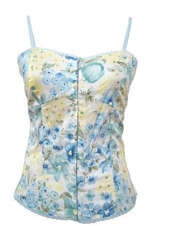 Blue Floral Print Corset Top Medium