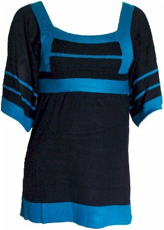 Black/Teal Tie Back Knit Top Large
