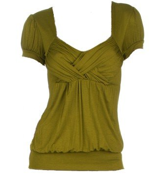 Olive Cross Front Cap Sleeve Top Large