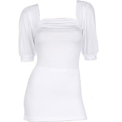 White Shirring Short Sleeves Top Large