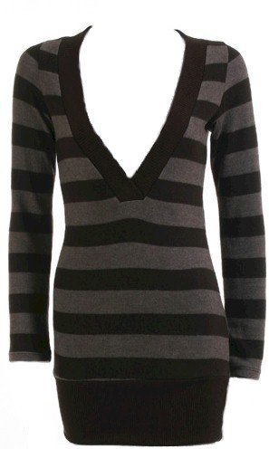Brown Stripe Deep V-Neck Long Sleeve Sweater Medium