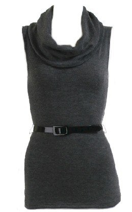 Gray Cowl Neck Top W/Belt Large