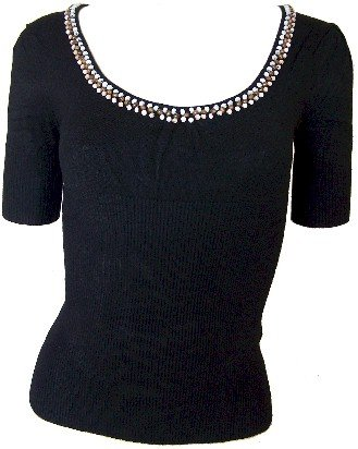 Black Beaded Sweetheart Knit Top Large