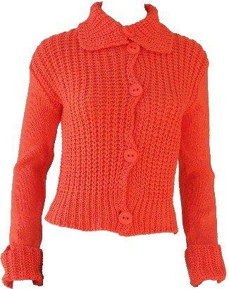 Elizabeth Orange Button Sweater Medium