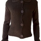 Elizabeth Brown Button Sweater Small