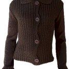 Elizabeth Brown Button Sweater Small