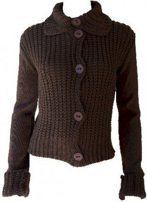 Elizabeth Brown Button Sweater Large