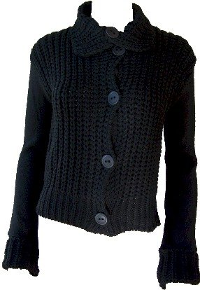 Elizabeth Black Button Sweater Small