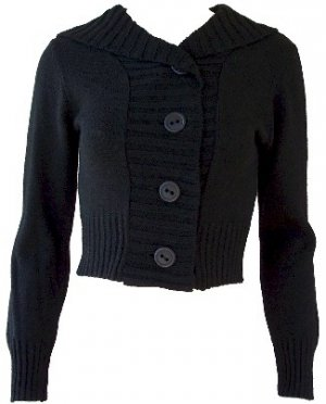 Black Button Hoodie Sweater Medium