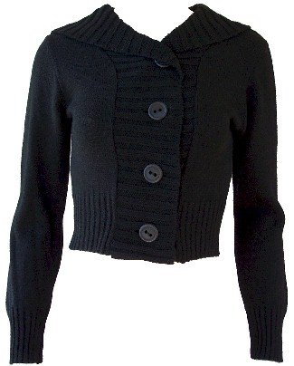 Black Button Hoodie Sweater Large