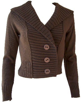 Brown Button Hoodie Sweater Large