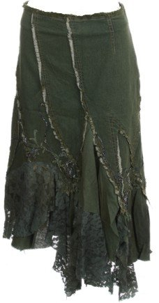 Olive Beaded Lace Denim Skirt Small