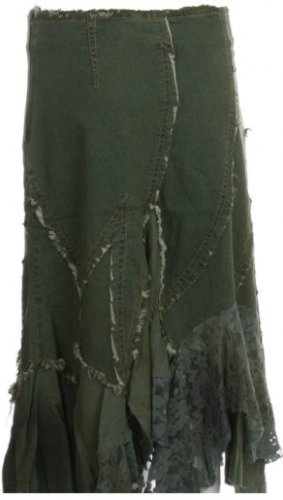 Olive Beaded Lace Denim Skirt Large