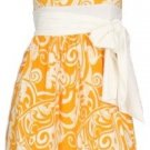 Orange Print Sleeveless Tie Dress Large
