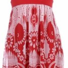 Red Print Tie Back Sleeveless Dress Women's Juniors Plus Size Small