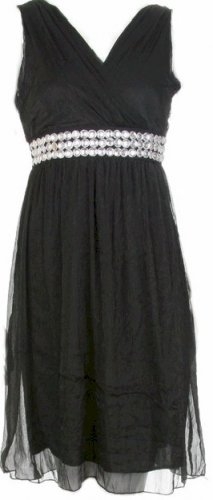 Black Soft Chiffon Empire Waist Dress Large