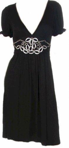 Brown Deep V-Neck Short Sleeves Brooch Dress  Large