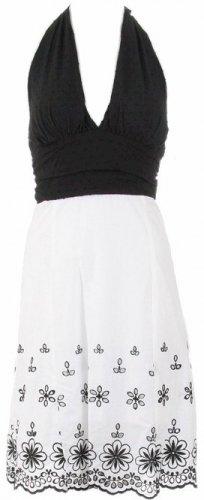 Black White Floral Detailed Halter Dress  Women's Juniors Plus Size Small