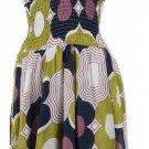 Blue Sage Print Smocked Halter Dress Large