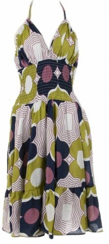 Blue Sage Print Smocked Halter Dress Large