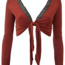 Trendy Rust Ethnic Print Trim Bolero Medium