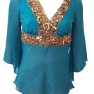 Deep Turquoise Gold Sequin Empire Waist Chiffon Top Small