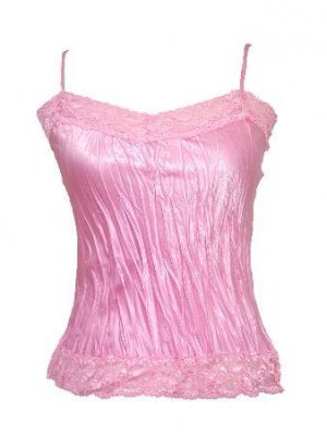 Trendy Pink Satin Lace Crinkled Top W/Side Slit Large
