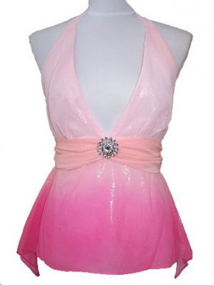 Pink Shimmering Removable Brooch Halter Top Medium