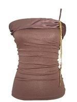 Brown Satin One Shoulder Strap Sequin Chain Top  Medium
