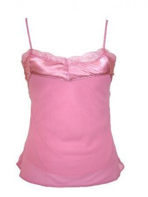 Pink Satin Lace Sheer Lined Top Large