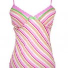Pink Stripe Semi Sheer Adjustable Strap Top Small