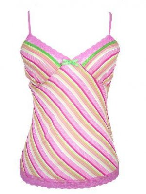 Pink Stripe Semi Sheer Adjustable Strap Top Large