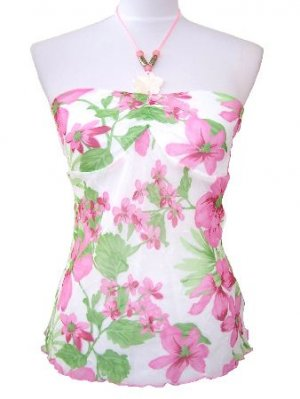 Pink Floral Chiffon Necklace Halter Top Medium, Juniors Women's