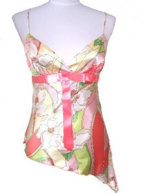 Pink Multi Color Floral Print Satin Top Medium, Women's Juniors