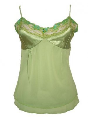 Green Two Layered Chiffon Satin Beaded Top Small, Women's Juniors