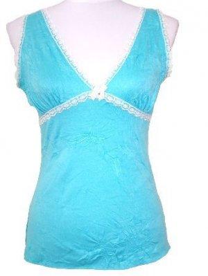 Blue Crinkled Lace Trim Top W/Back Tie Medium, Women's Juniors