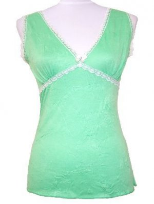 Green Crinkled Lace Trim Top W/Back Tie Small, Women's Juniors